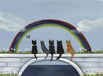 Rainbow Bridge Kitties by Dina Marie art print