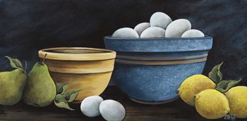 Blue Bowl with Eggs by Debbi Wetzel art print