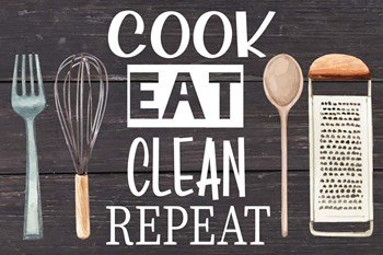 Cook Eat Clean Repeat by ND Art & Design art print