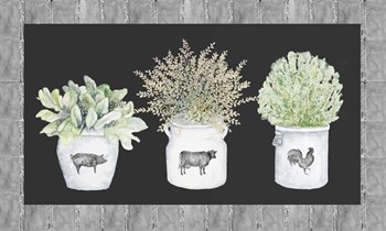 Potted Farm Arrangement Trio on Chalkboard by Janice Gaynor art print