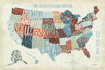 USA Modern Blue by Michael Mullan art print