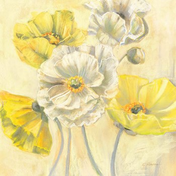 Gold and White Contemporary Poppies I by Carol Rowan art print