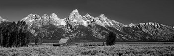 Barn On Plain Before Mountains, Grand Teton National Park, Wyoming by Panoramic Images art print