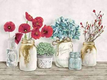 Floral Composition with Mason Jars by Jenny Thomlinson art print