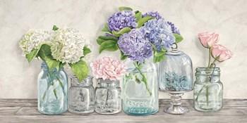 Flowers in Mason Jars by Jenny Thomlinson art print