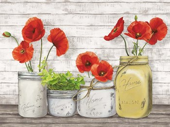 Poppies in Mason Jars (detail) by Jenny Thomlinson art print