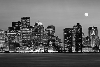 Boston at night (Black And White) by Panoramic Images art print