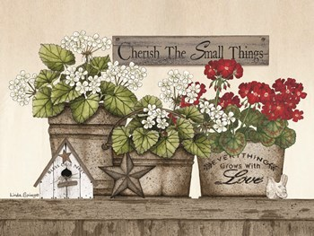 Cherish the Small Things Geraniums by Linda Spivey art print