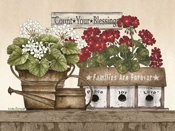 Count Your Blessings Geraniums by Linda Spivey art print